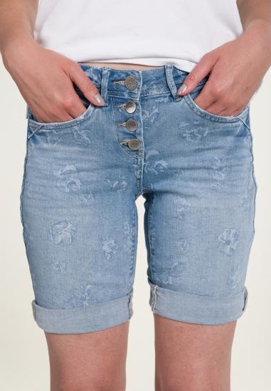 Bermudy jeansowe z motywem...