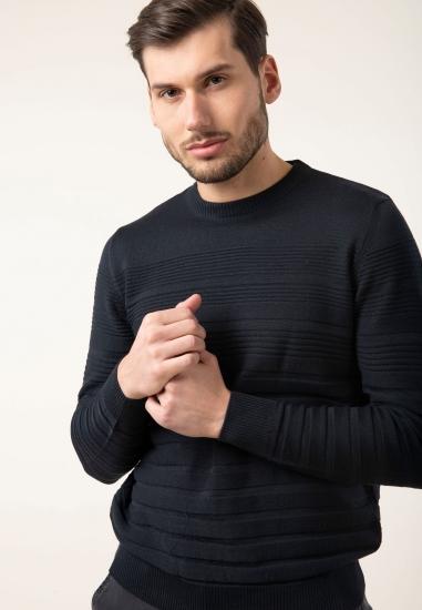 Prążkowany sweter z...