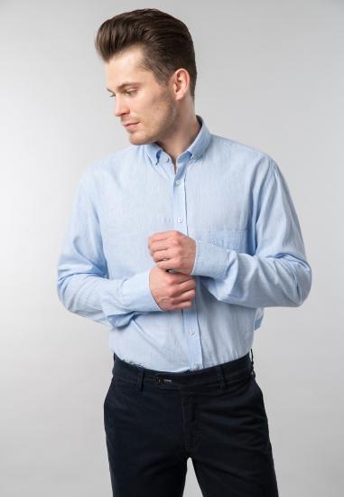 Koszula męska modern fit z mieszanki lnu i bawełny Digel