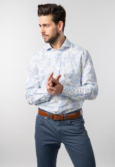 Wzorzysta koszula slim fit Pierre Cardin - 0079021 NIEBIESKI