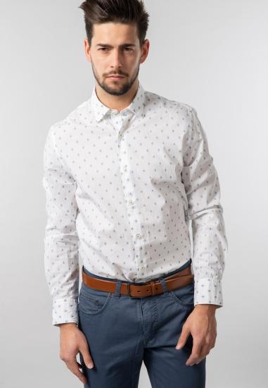 Wzorzysta koszula modern fit Pierre Cardin - 0019001 BIALY
