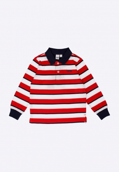T-shirt polo chłopięcy w paski I Do