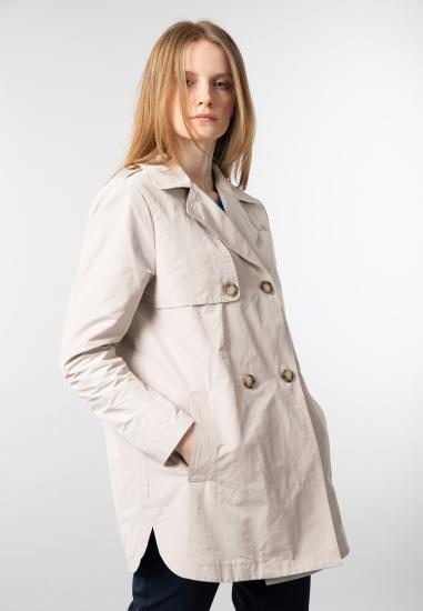 Dwurzędowy płaszcz damski Meteore - 004ECRU