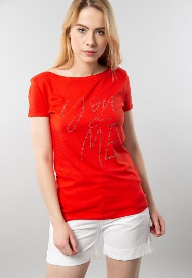 T-shirt damski z napisem Gas