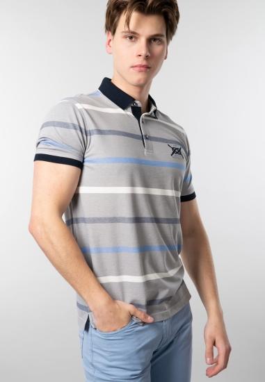 T-shirt męski w paski polo...