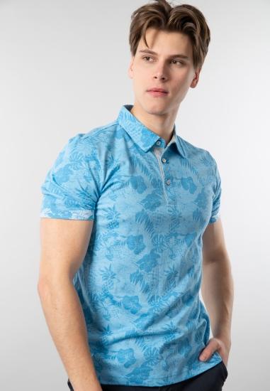 Wzorzysty t-shirt męski polo Pierre Cardin