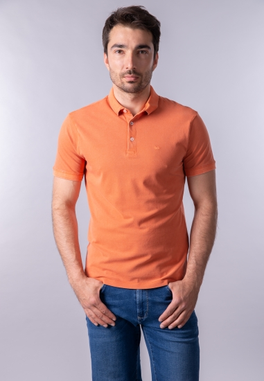 T-shirt męski polo Gas - 0111458 POMARANCZ