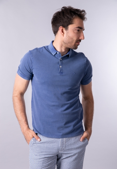T-shirt męski polo Gas - 0073761 GRANAT