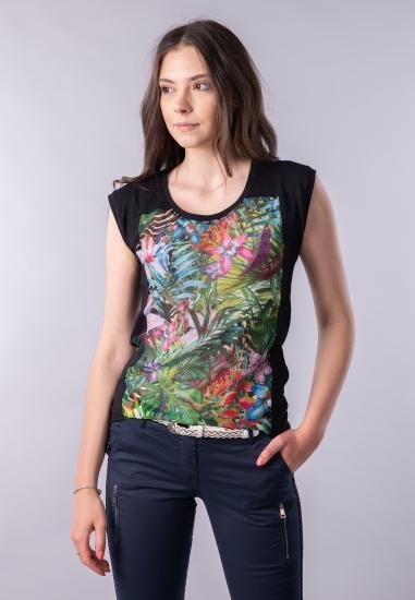T-shirt z łączonych tkanin...