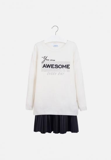 Komplet koszulka + spódniczka Mayoral - 00450 ECRU-CZARNY