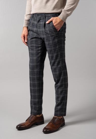 Męskie spodnie w kratkę z domieszką wełny Bugatti