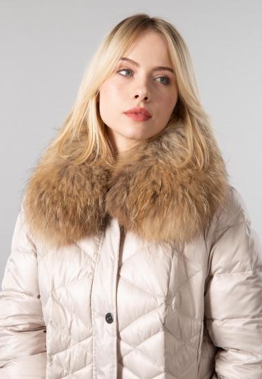 Pikowana kurtka damska z naturalnym futrem Barbara Lebek