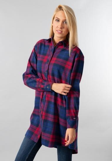 Koszula oversize o dłuższym kroju Tommy Jeans - 007GRANAT-CZERWONY