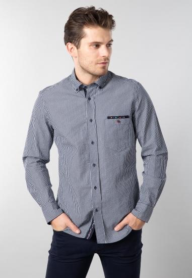 Koszula w paski Exp Italy - 00740 GRANAT-BIALY