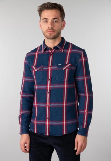 Koszula w kratę Wrangler - 006X51 CZERWONY-GRAN