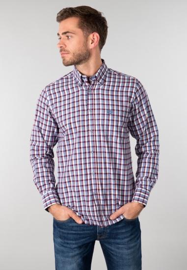 Koszula męska Ascot Sport - 00763 GRANAT-CZERWON