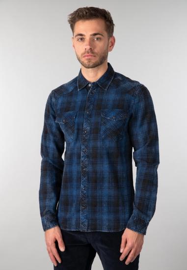 Koszula męska w kratę Blend - 00774645 GRANAT