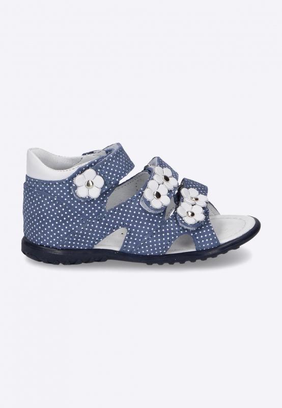 Sandały dziewczęce z kwiatuszkami EMEL