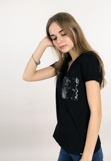 T-shirt z cekinową...