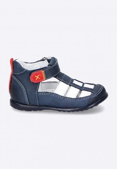 Dwukolorowe sandały na rzep EMEL