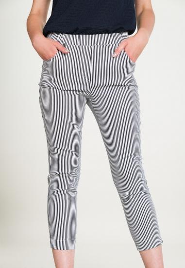 Spodnie w paski z gumką w...