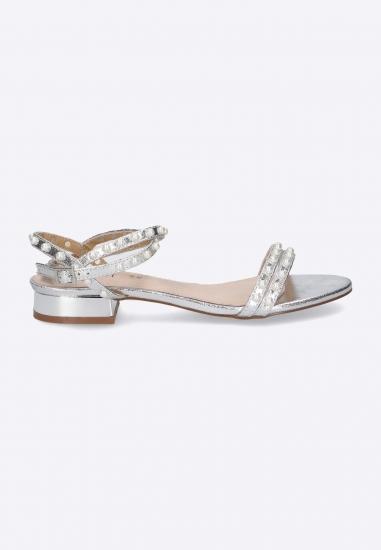 Srebrne sandały z perełkami...